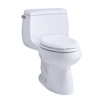 Gabrielle Comfort Height 1-Piece 1.28 GPF Single Flush Compact Elongated Toilet with AquaPiston Flush in White