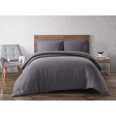 Linen Charcoal Queen Duvet Set
