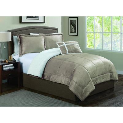Avalanche 3Pc Taupe Twin Micro Sherpa Comforter Set