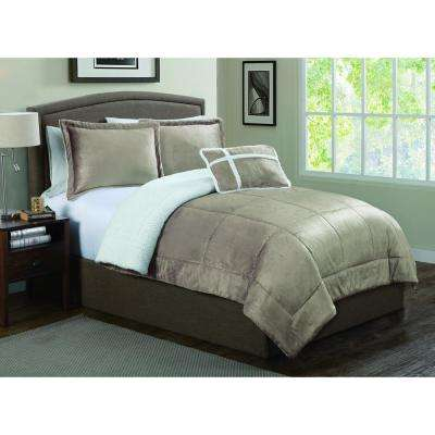 Avalanche 3-Piece Taupe Twin Micro Sherpa Set