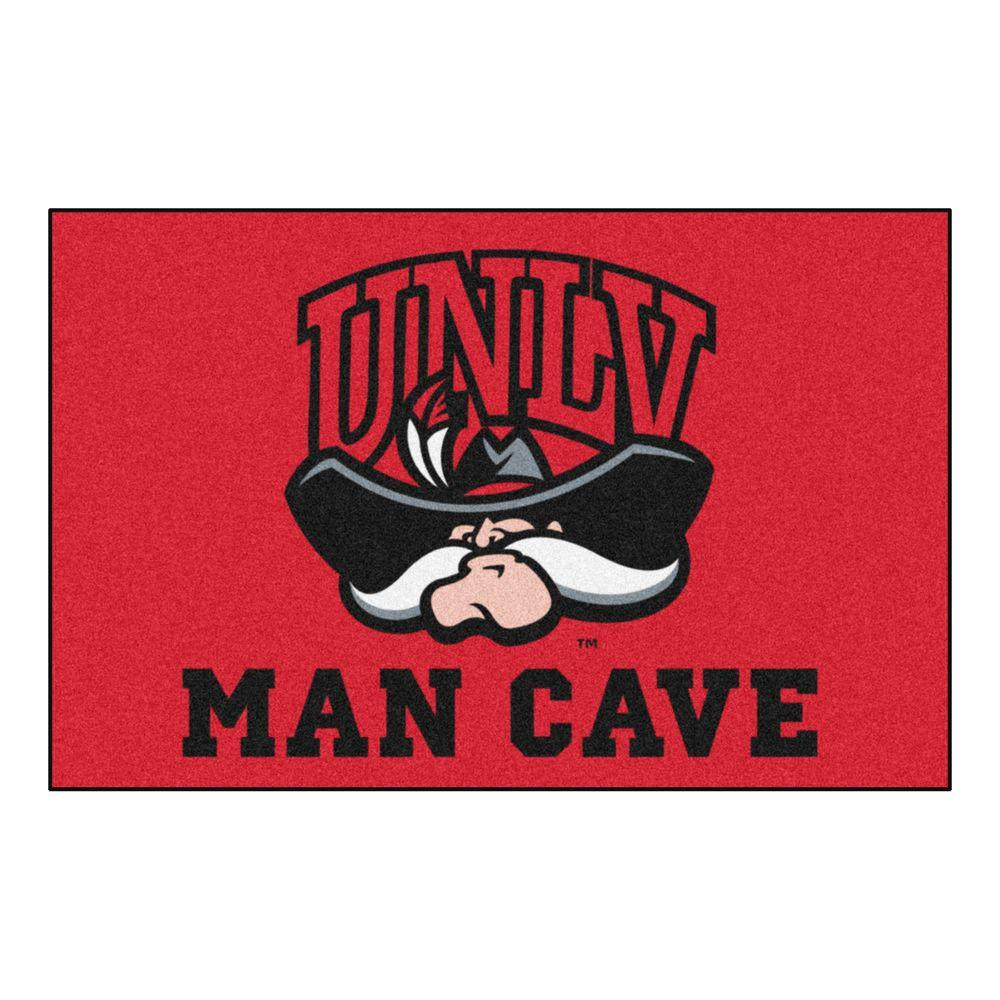 Fanmats Ncaa University Of Nevada Las Vegas Unlv Red Man Cave 2 Ft X 3 Area Rug 17337 The Home Depot
