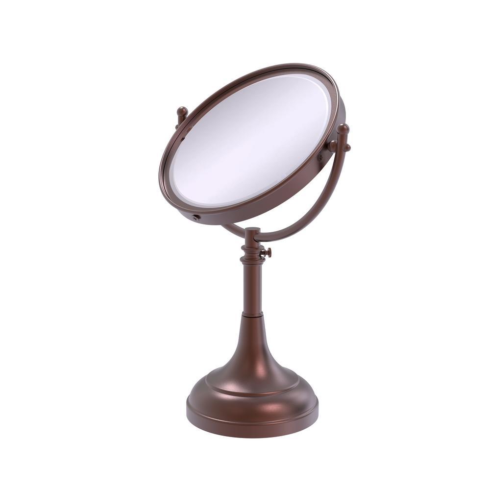 23 in. x 8 in. Vanity Top Makeup Mirror 4x Magnification in Antique Copper