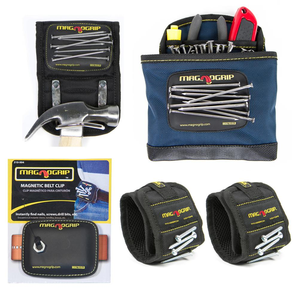 MagnoGrip Magnetic Tool Holder Set with 2 Wristbands, 1 Belt Clip, 1 Hammer Holster and 1 Clip-On Pouch (5-Pack)