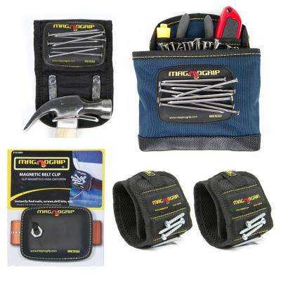 Magnetic Tool Holder Set with 2 Wristbands, 1 Belt Clip, 1 Hammer Holster and 1 Clip-On Pouch (5-Pack)