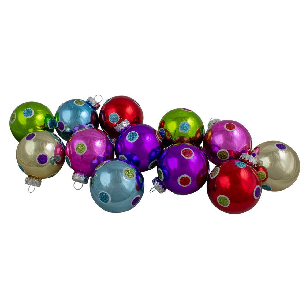 "Silver Ball Ornament Set 10 Shiny Glass  2.5/"" Christmas Tree Decor 65mm Box"