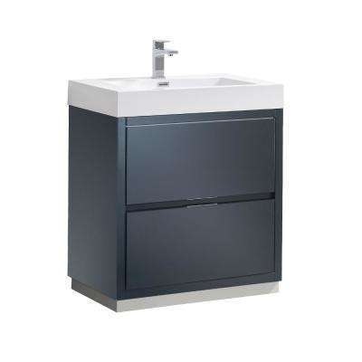 Valencia 30 in. W Bathroom Vanity in Dark Slate Gray with Acrylic Vanity Top in White