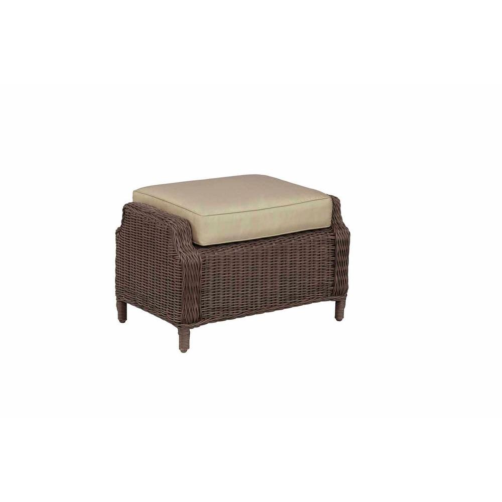 Brown Jordan Vineyard Patio Ottoman with Meadow Cushion -- STOCK