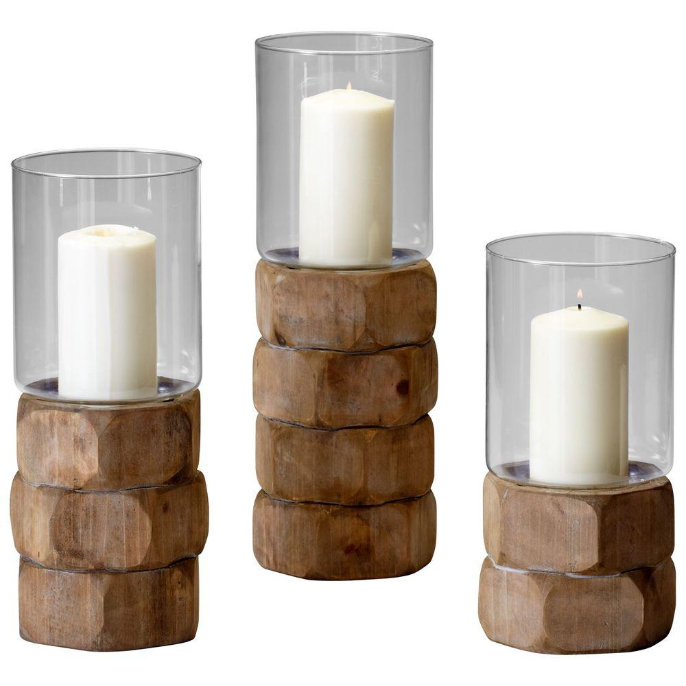 Filament Design Prospect 14 in. Natural Wood Candle Holder