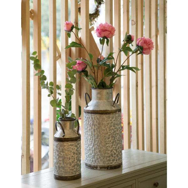 Vintiquewise Rustic Farmhouse Style Galvanized Metal Milk Can Decoration Planter And Vase Set Of 2 Qi003454 2 The Home Depot