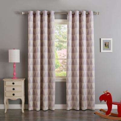 84 in. L Lilac Triangle Room Darkening Curtain (2-Pack)