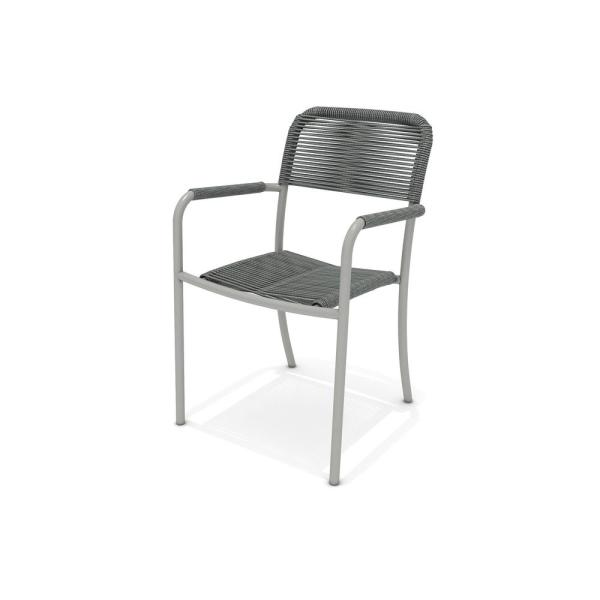 Havel Gray Stacking Aluminum Outdoor Dining Chair (4-Pack)