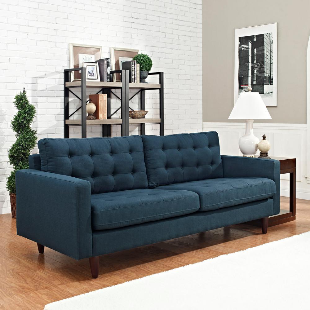 Empress Azure Upholstered Fabric Sofa
