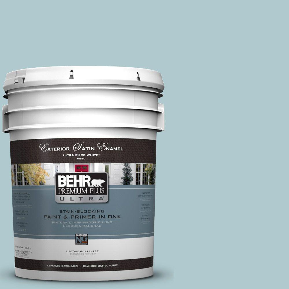 BEHR Premium Plus Ultra 5-gal. #HDC-SM14-8 Floating Blue Satin Enamel Exterior Paint