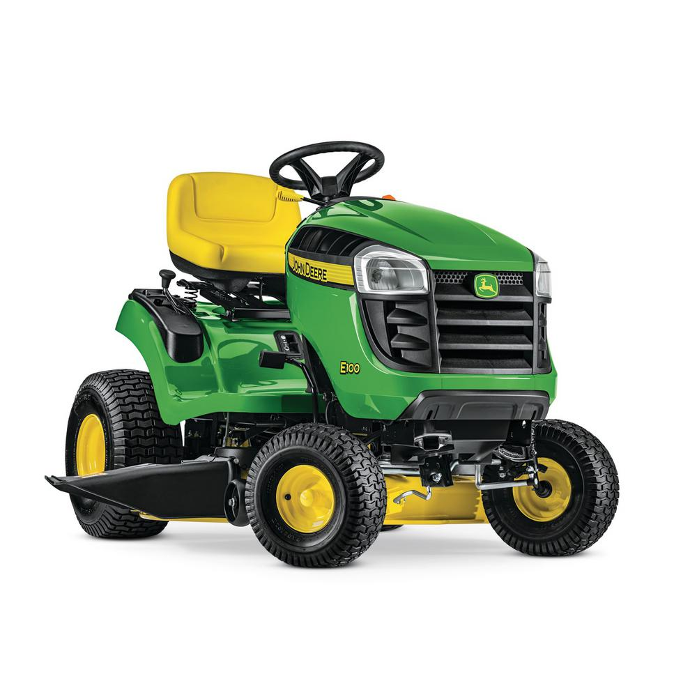 John Deere E100 42 In 17 5 Hp Gas Automatic Lawn Tractor Bg21068 The Home Depot