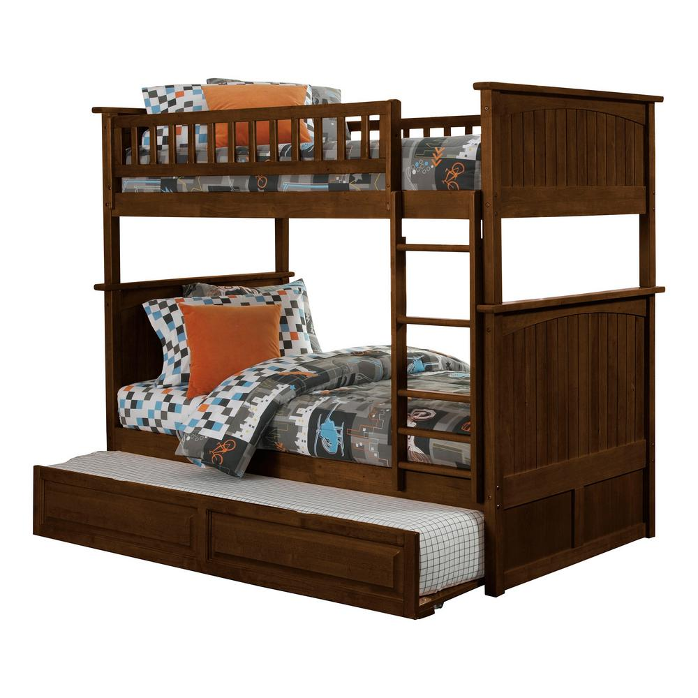 Atlantic Furniture Nantucket Walnut Twin Over Bunk Bed With Raised Panel Trundle