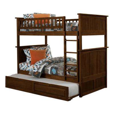 Nantucket Walnut Twin Over Twin Bunk Bed with Twin Raised Panel Trundle Bed