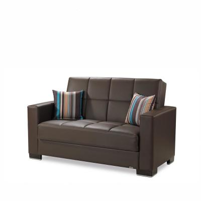 Armada 64 in. Brown Faux Leather 2-Seater Convertible Loveseat with Storage