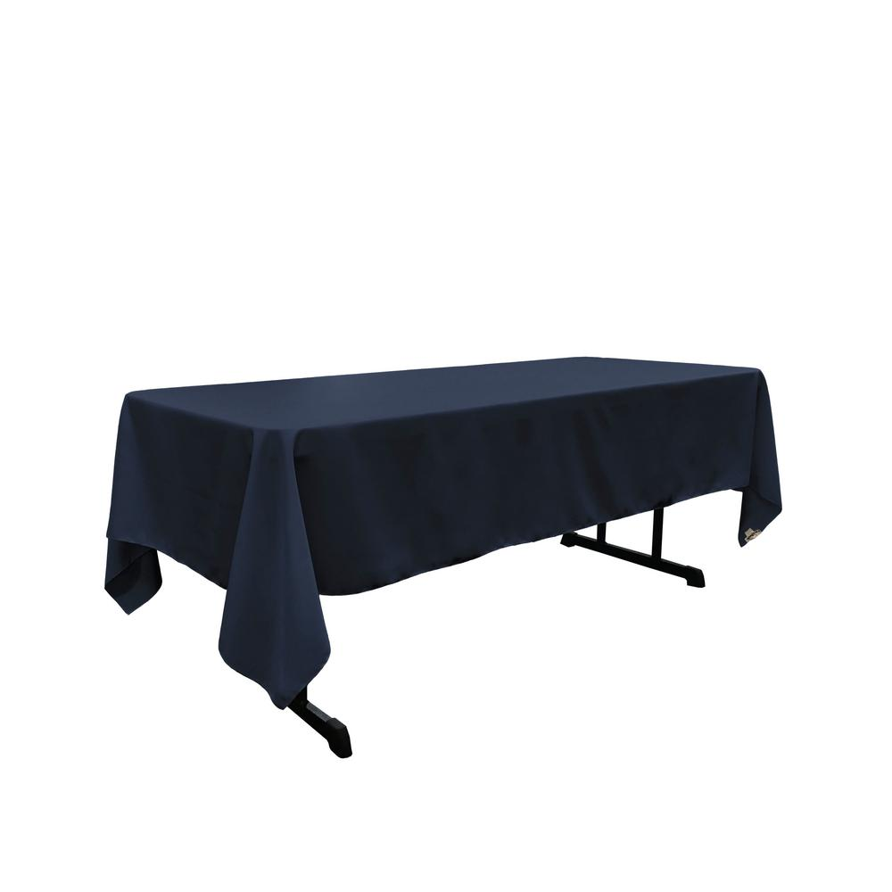 LA Linen Polyester Poplin 60 In. X 120 In. Navy Blue Rectangular Tablecloth