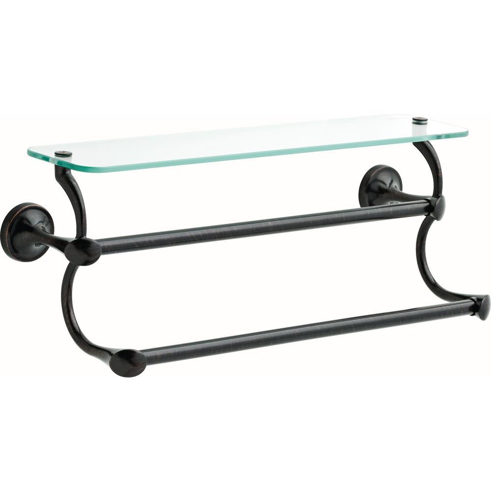18 in. Glass Shelf with Double Towel Bar in SpotShield Venetian Bronze