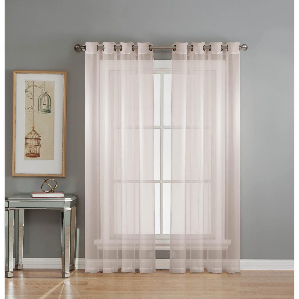 Window Elements Sheer Sheer Elegance 84 inch L Grommet Curtain Panel Pair, White (Set of 2) by Window Elements