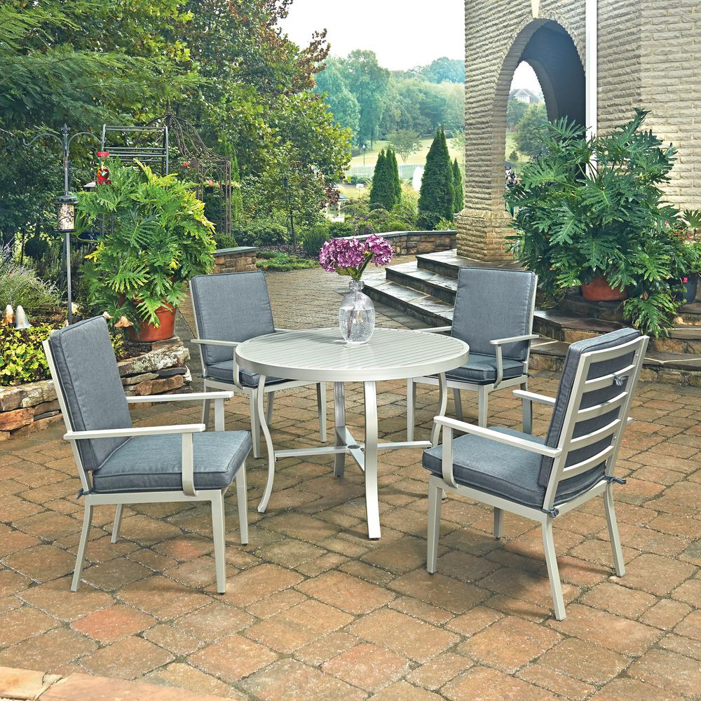 Home Styles South Beach Grey 5 Piece Outdoor Dining Set With Gray Cushion