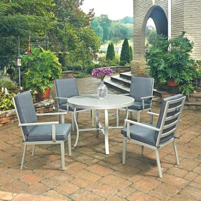South Beach Grey 5-Piece Outdoor Dining Set with Gray Cushion