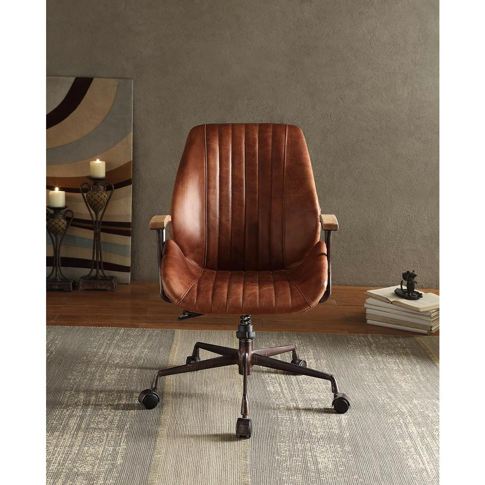 Office Chair Cocoa Leather Top Grain Leather Furniture Arm ...