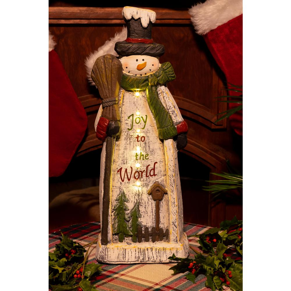 alpine christmas snowman lantern statue decor tm