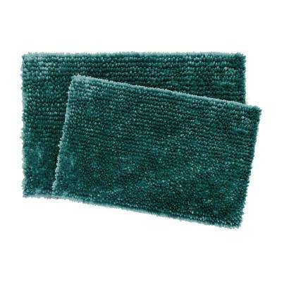 Mega Butter Harbor Chenille 17 in. x 24 in./20 in. x 32 in. 2-Piece Bath Mat Set in Teal