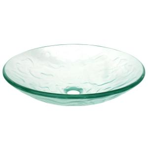 Embossed Waves Glass Vessel Sink In Clear With Pop Up Drain And Mounting  Ring In