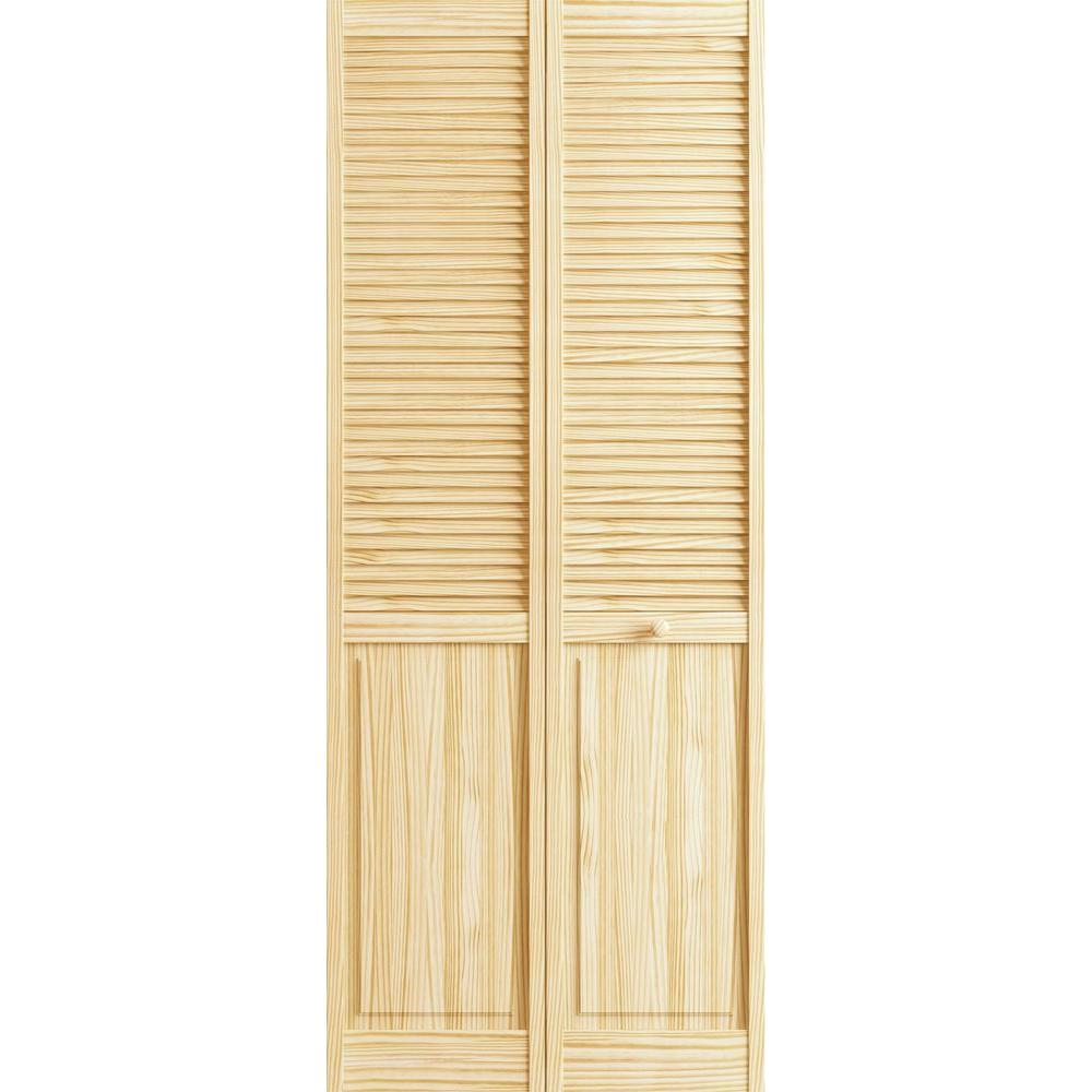 24 in. x 80 in. Louver/Panel Pine Unfinished Interior Closet Bi-fold