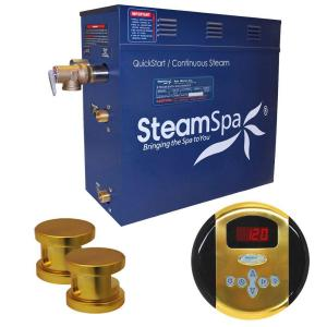 SteamSpa Oasis 10.5kW Steam Bath Generator Package in Polished Brass by SteamSpa