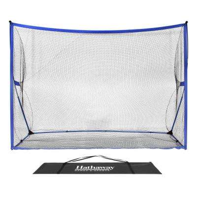 Par 5 Golf Training Net System with Ground Stakes and Carry Bag in Black Net and Royal Blue Trim