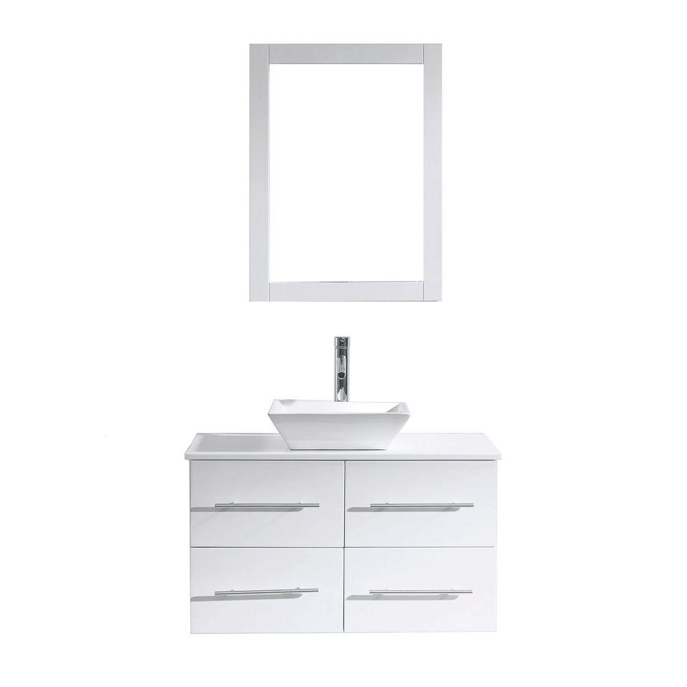 Virtu USA Marsala 36 in. W Bath Vanity in White with Stone Vanity Top in White with Square Basin and Mirror and Faucet