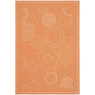 Courtyard Terracotta/Natural 8 ft. x 11 ft. Indoor/Outdoor Area Rug