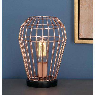 7 in. x 11 in. Modern Urn-Shaped Metal Accent Light in Rose Gold