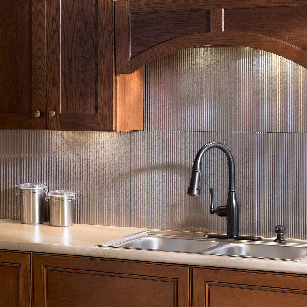 Tin Backsplash For Kitchen: Fasade 24 In. X 18 In. Rib PVC Decorative Backsplash Panel