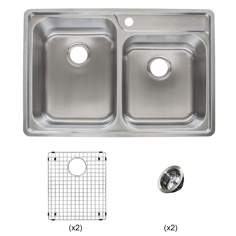 Franke Evolution All-in-One Drop-in Stainless Steel 33 in. 1-Hole 60/40 Offset Double Bowl Kitchen Sink Kit