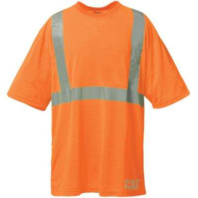 Hi-Vis Men's Small Orange Polyester ANSI Class 2 Short Sleeved T-Shirt