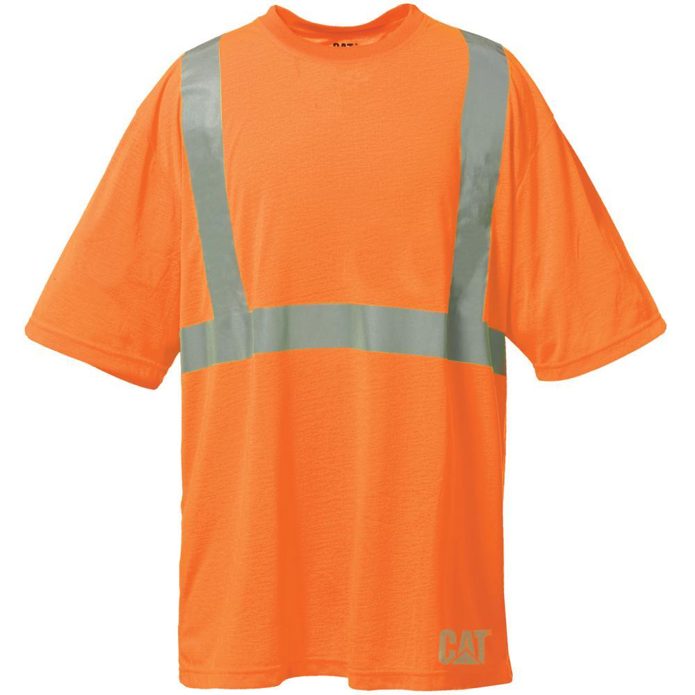 SHORT SLEEVE SAFETY T-SHIRT w// TAPE MOISTURE WICKING POCKET S-4X MEN/'S ANSI