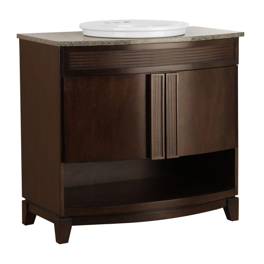 Foremost Fiji 37 in. Vanity in Java with Granite Vanity Top in Glacier Blue and Sink in White-DISCONTINUED