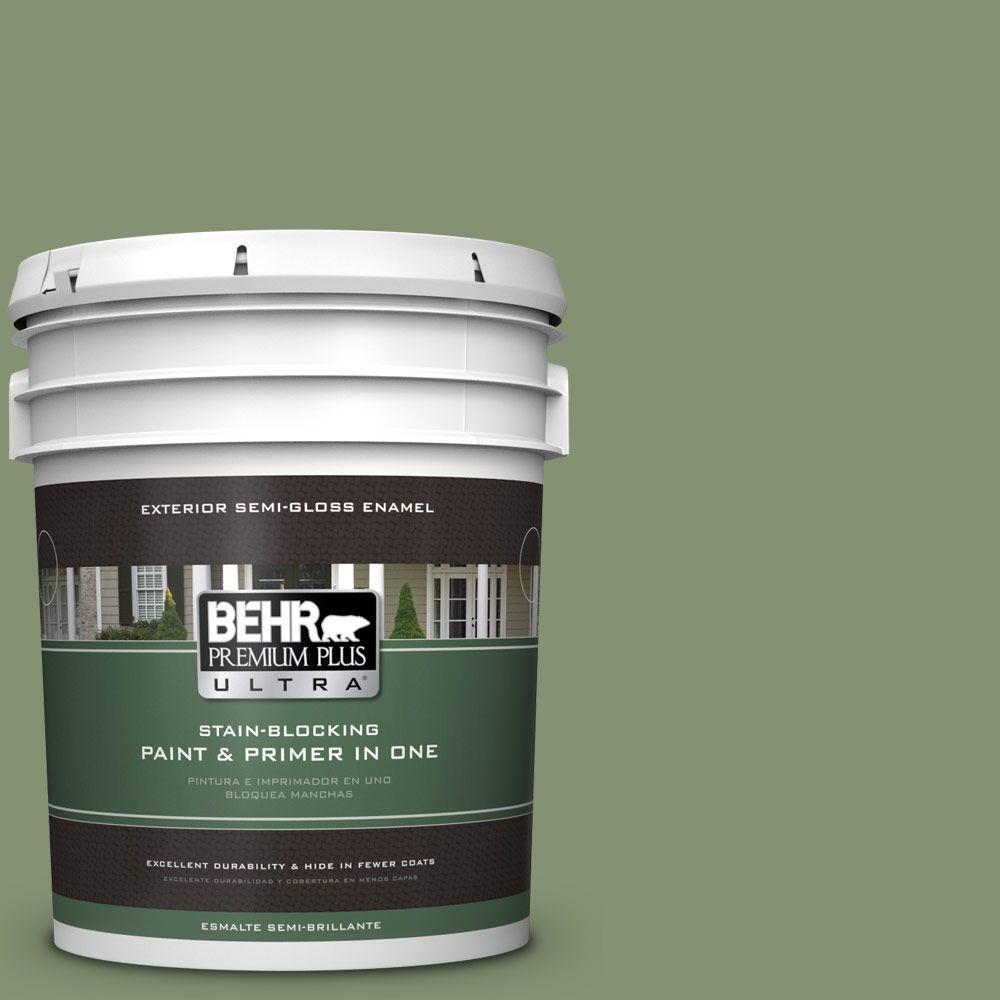 BEHR Premium Plus Ultra 5-gal. #BIC-26 Aloe Plant Semi-Gloss Enamel Exterior Paint