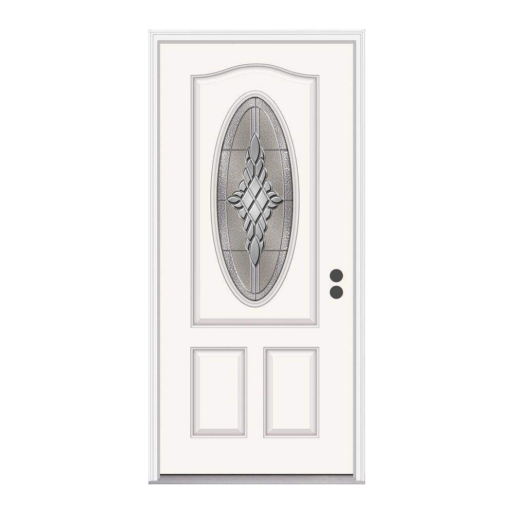 36 in. x 80 in. 3/4 Oval Lite Hadley Primed Fiberglass Prehung Left-Hand Inswing Front Door w/Brickmould