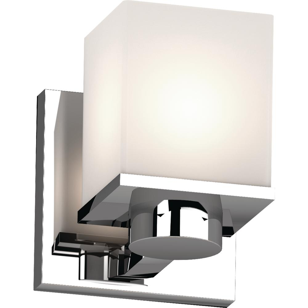 Volume Lighting Sharyn 1-Light 4.5 in. Chrome Indoor Bathroom Vanity Wall Sconce or  sc 1 st  Home Depot & Volume Lighting Sharyn 1-Light 4.5 in. Chrome Indoor Bathroom Vanity ...