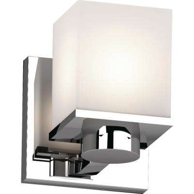 Sharyn 1-Light 4.5 in. Chrome Indoor Bathroom Vanity Wall Sconce or Wall Mount with Frosted Glass Square Rectangle Shade