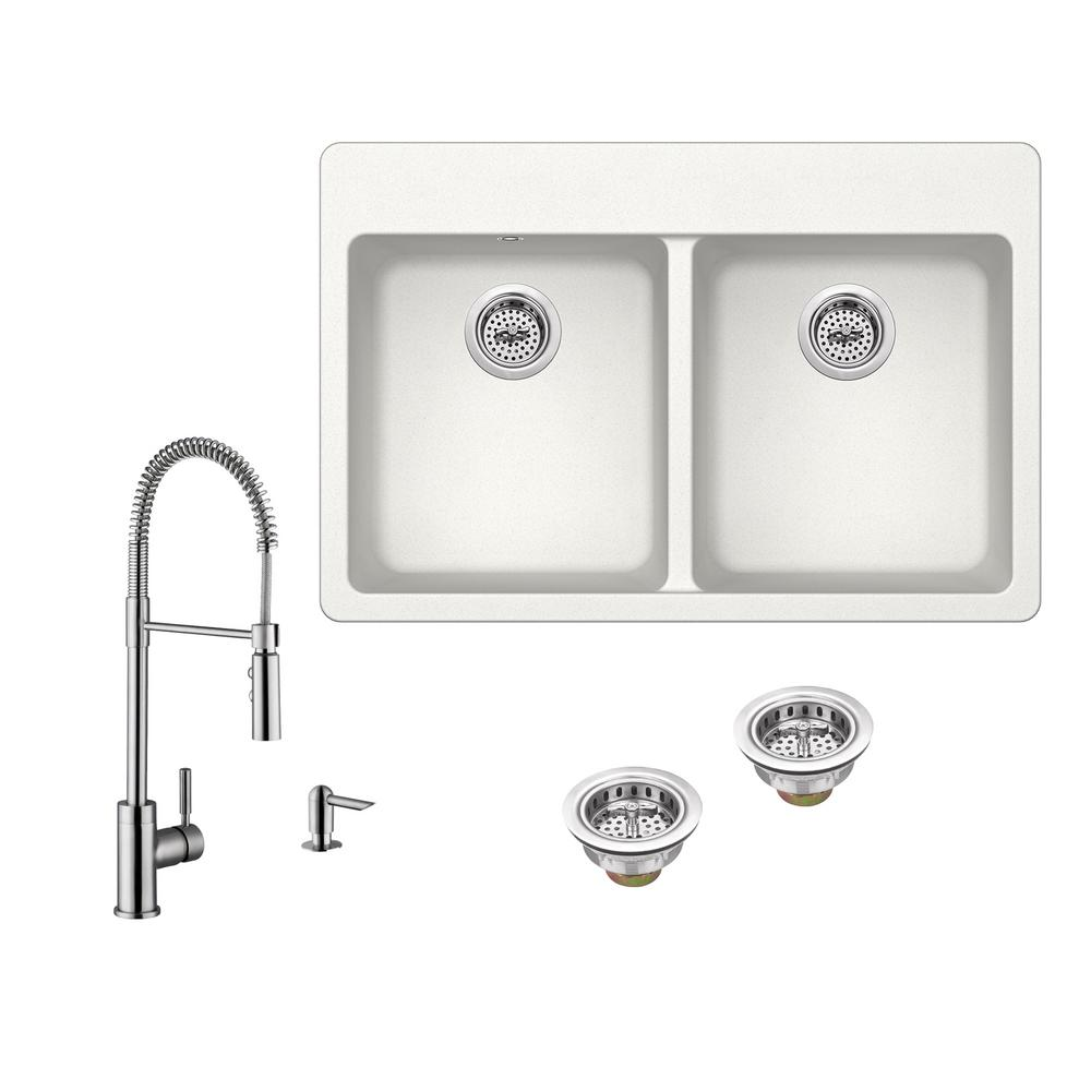 All In One Drop Granite Composite 33 4 Hole 50 Double Bowl Kitchen Sink White With Faucet Brushed Nickel Iptgr33225050p7556 Alp The Home