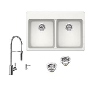 All-in-One Drop-in Quartz Composite 33 in. 4-Hole 50/50 Double Bowl Kitchen Sink in White with Faucet in Brushed Nickel