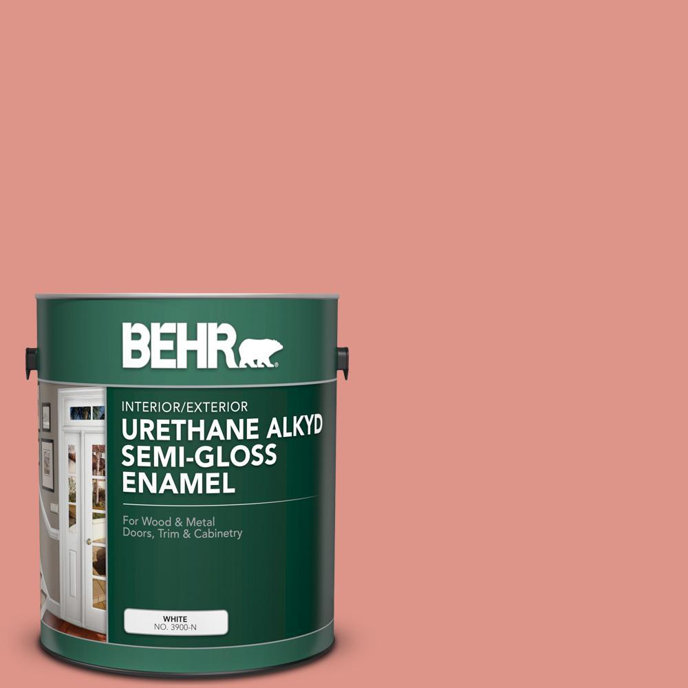 Behr 1 Gal Bic 18 Fresh Watermelon Urethane Alkyd Semi Gloss Enamel Interior Exterior Paint 393001 The Home Depot