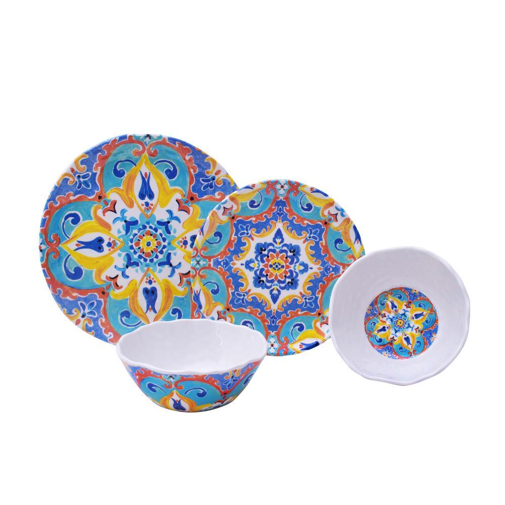 Romella Mixed 12-Piece Melamine Dinnerware Set