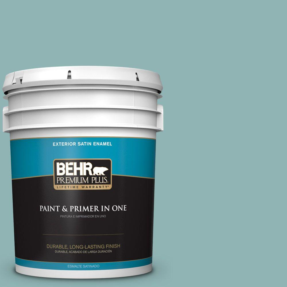 BEHR Premium Plus 5-gal. #BIC-24 Artful Aqua Satin Enamel Exterior Paint